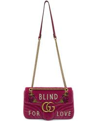 Gucci - Pink Medium Gg Marmont 2.0 Blind For Love Bag - Lyst
