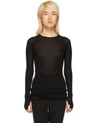 Boris Bidjan Saberi - Black Rib Crewneck Long Sleeve T-shirt - Lyst