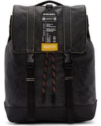 DIESEL - Black Leather Volpago Backpack - Lyst