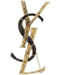 Saint Laurent - Black And Gold Croc Opyum Brooch - Lyst