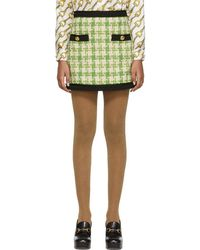 576e86ca44 Gucci Embroidered Tweed Pencil Skirt - Lyst