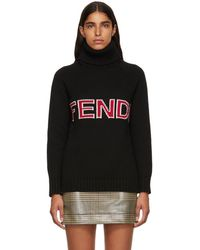Fendi - Black Wool Logo Turtleneck - Lyst