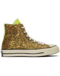 JW Anderson - Gold And Silver Converse Edition Glitter Chuck 70 High Sneakers - Lyst