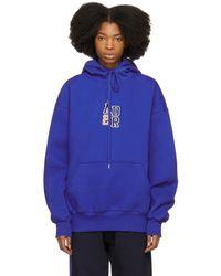 ADER error - Blue Oversized Logo Hoodie - Lyst