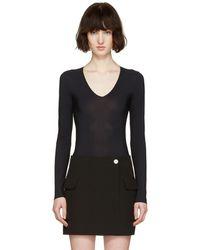Maison Margiela - Black V-neck Bodysuit - Lyst
