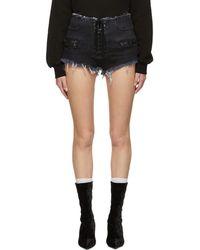 Unravel - Black Denim Lace-up Shorts - Lyst