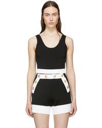 Balmain   Black Stretch Knit Bodysuit   Lyst