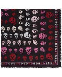 Alexander McQueen - Black And Pink Skull Scarf - Lyst