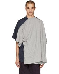 Y. Project - Grey And Navy Double T-shirt - Lyst