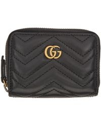 Gucci - Black GG Marmont Zip Around Wallet - Lyst