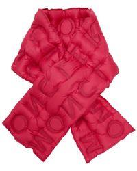Moncler - Pink Down Logo Scarf - Lyst