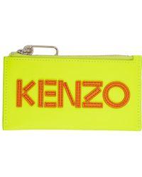 KENZO - Yellow Logo Zip Card Holder - Lyst