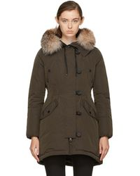Moncler - Green Down & Fur Arehdel Coat - Lyst