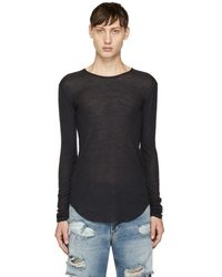 Balmain - Navy Long Sleeve Ribbed T-shirt - Lyst