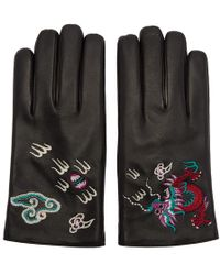 Gucci - Black Leather Dragon Gloves - Lyst