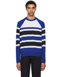 AMI - Blue And White Striped Crewneck Jumper - Lyst