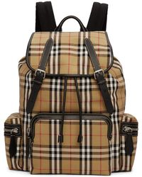 Burberry - Tan Check Rucksack - Lyst
