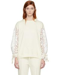 See By Chloé - White Broderie Anglaise Sweatshirt - Lyst