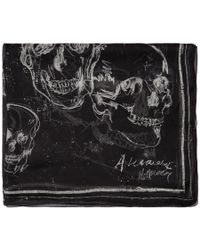 Alexander McQueen - ブラック シルク グラフィティ スカーフ - Lyst