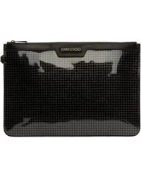 Jimmy Choo - Black Houndstooth Glitter Pouch - Lyst