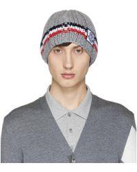 Moncler Gamme Bleu - Grey Cashmere Striped Beanie - Lyst