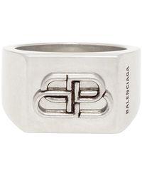 Balenciaga - Silver Bb Logo Ring - Lyst
