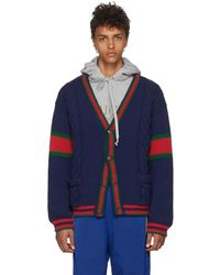 Gucci - Blue Cable Knit Wool Cardigan - Lyst