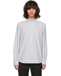 Acne Studios - Green And White Striped Isherwood Shirt - Lyst