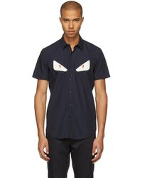 Fendi - Navy Short Sleeve Bag Bugs Shirt - Lyst
