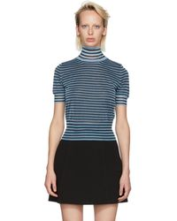 Fendi - Blue Striped Crop Turtleneck - Lyst