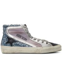 Golden Goose Deluxe Brand - Purple And Blue Glitter Slide High-top Sneakers - Lyst