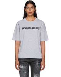 DSquared² - Grey Logo T-shirt - Lyst