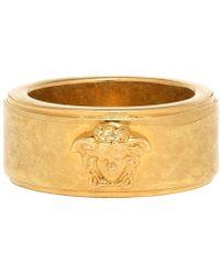 Versace Bague a logo doree et noire