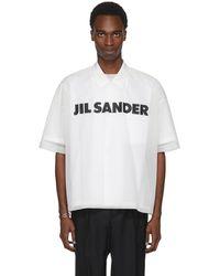 Jil Sander | White Mesh Logo T-shirt | Lyst