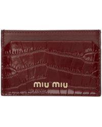 Miu Miu レッド クロコ カード ホルダー