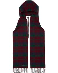 Balenciaga - Red Check Hooded Scarf - Lyst
