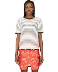 Ostwald Helgason - White Ribbed Mesh Stripe T-shirt - Lyst