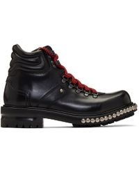 Alexander McQueen - Black Studded Hiking Boots - Lyst