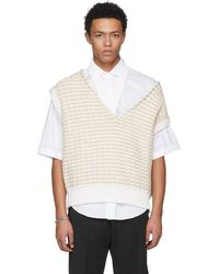 Raf Simons - White Cropped Knit Vest - Lyst