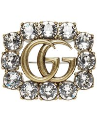 Gucci Gold Crystal GG Brooch - Multicolor