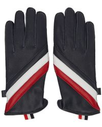 Thom Browne - Navy Quilted Diagonal Stripe Gloves - Lyst