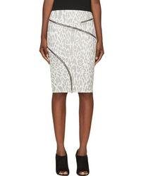 Jay Ahr - White & Black Ziparound Leopard Pencil Skirt - Lyst