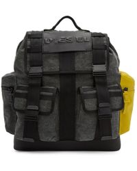 DIESEL - Grey And Black M-cage Backpack - Lyst