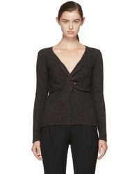 Isabel Marant - Grey Edge Twisted Donegal V-neck Sweater - Lyst