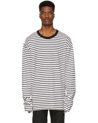 DIESEL - Black And Off-white T-daichi Long Sleeve T-shirt - Lyst