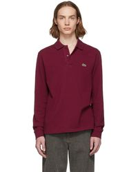 Lacoste - Burgundy Classic Long Sleeve Polo - Lyst