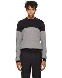 Maison Margiela - Black And White Three-button Shoulder Sweater - Lyst