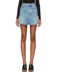 RE/DONE - Blue Originals High-rise Rigid Denim Miniskirt - Lyst