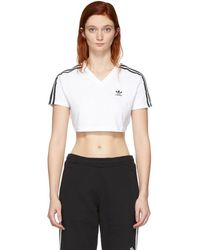 adidas Originals - White Cropped T-shirt - Lyst
