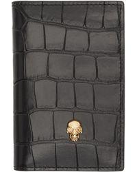 Alexander McQueen - Black Croc Skull Pocket Organizer Card Holder - Lyst